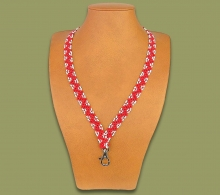 African Beaded Lanyard Zigzag Red White
