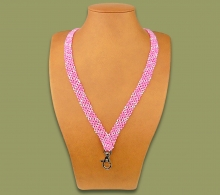 Beaded Lanyard Zigzag Stripe Pink White