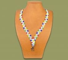 African Beaded Lanyards Zigzag White Mixed