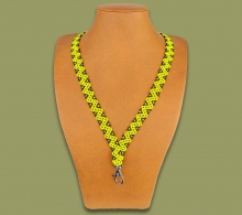 Beaded Lanyards Zigzag Yellow Black