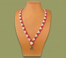 Beaded Lanyard Zulu Spear Red White Black