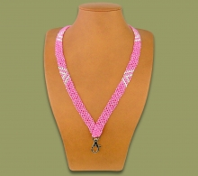 Beaded Lanyard Zulu V Design Pink White