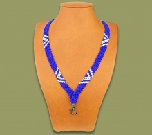 African Beaded Lanyard Zulu V Design Blue White