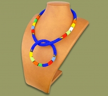 Zulu Necklace Bangle Set Dark Blue #1 Bead