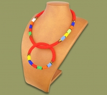 Zulu Necklace Bangle Set Red #1 Bead