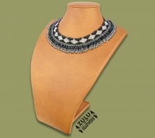 Beaded Thandi Necklace Black Silver