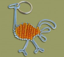 Beaded Key Ring Ostrich.1