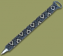 Beaded Pen Diamond Metallic Silver Black