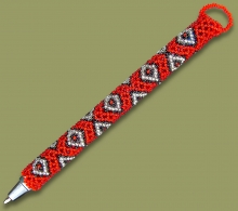 Beaded Pen Diamond Red Silver Black
