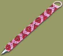 Beaded Pen Geometric Cherry Pink