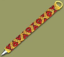 Beaded Pen Geometric Gold Black Red