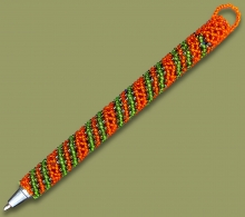 Beaded Pen Spiral Orange Green