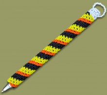 Beaded Pen Spiral Orange Yellow Black