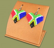 Beaded Heart SA Flag Earrings