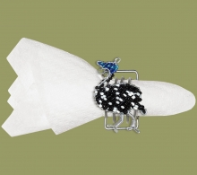 Beaded Serviette Ring Stand Guinea Fowl
