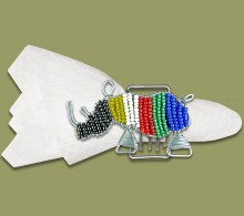 Beaded SA Flag Serviette Ring Rhino