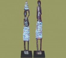 Beaded Statues Pair Light Blue Large