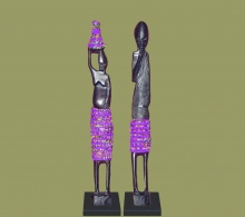 African Beaded Statues Pair Purple Small
