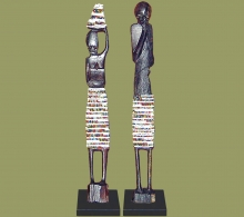 African Beaded Statues Pair White Large