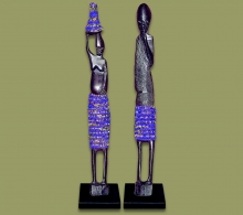 African Beaded Statues Dark Blue Large