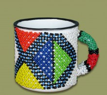Beaded Tin Mug Small Geometric.1
