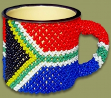 Beaded SA Flag Tin Mug Large