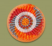 Beaded Thandi Necklace Red Orange Metallic
