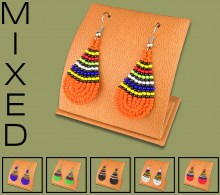 Mixed African Colors Small Tear Drop Earrings