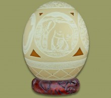 Ostrich Egg Carved Big Five and Africa Map