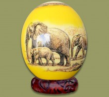 Ostrich Egg Decoupage Elephant Family Yellow