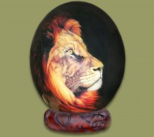Ostrich Egg Decorated Lion