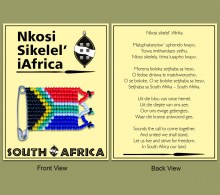 Carded Packaging Nkosi Sikelel' iAfrika Beaded SA Flag