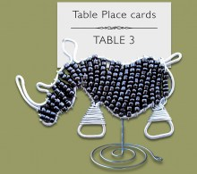 Beaded Black Rhino Table Place Card Holder