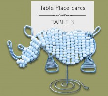 Beaded White Rhino Table Place Card Holder