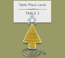 Beaded Christmas Tree Gold Place Card Holder