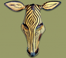 Wood Carved Zebra Mask Small