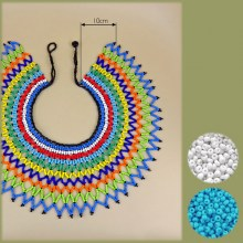 BLUE WHITE Zulu Beaded Lace Necklace Large