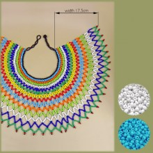 BLUE WHITE Zulu Beaded Lace Necklace Extra Large