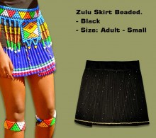 Beaded Zulu Skirt Black Adult Small