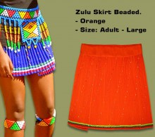 Beaded Zulu Skirt Orange Adult Large