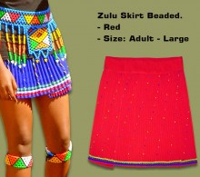 Beaded Zulu Skirt Adult Red Large