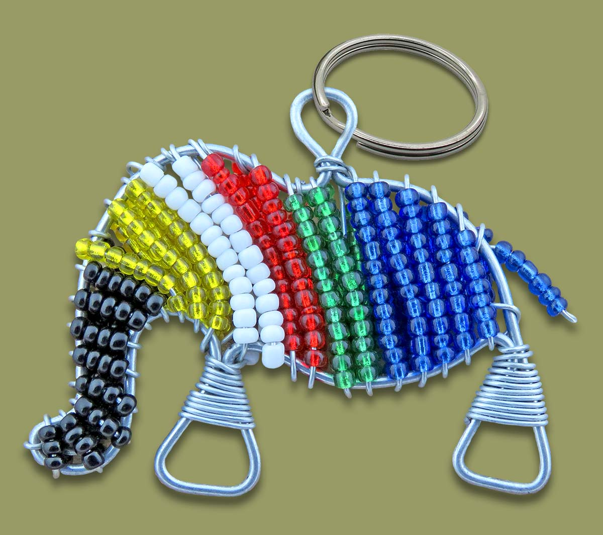 Beaded SA Flag Elephant Keyring