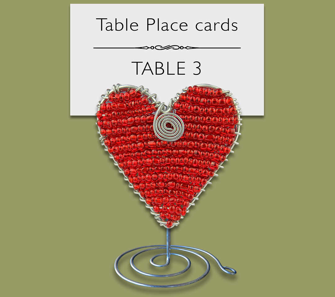 Beaded Heart Table Place Card Holder