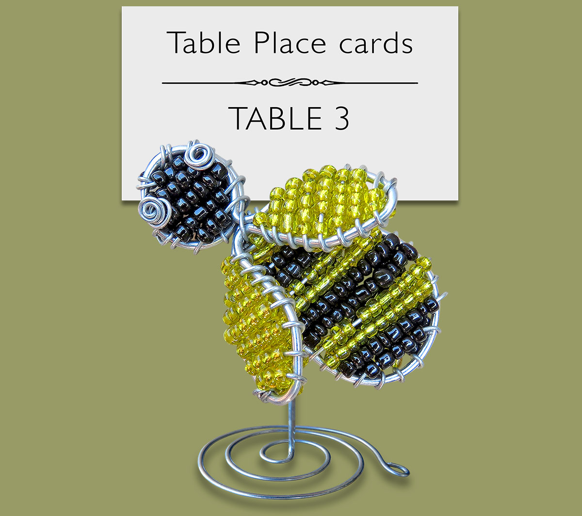 Beaded Bee Table Place Card Holder