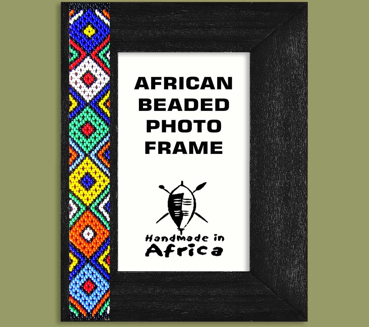 African Beaded Photo Frames Zulu Colours One Side