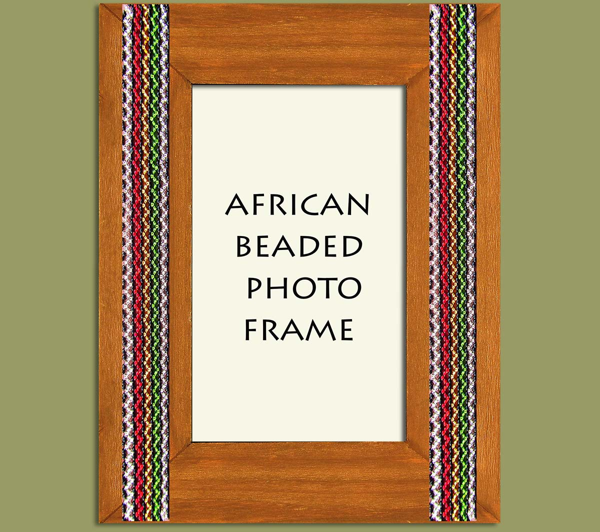 Beaded Photo Frame Brown Stripe x 2