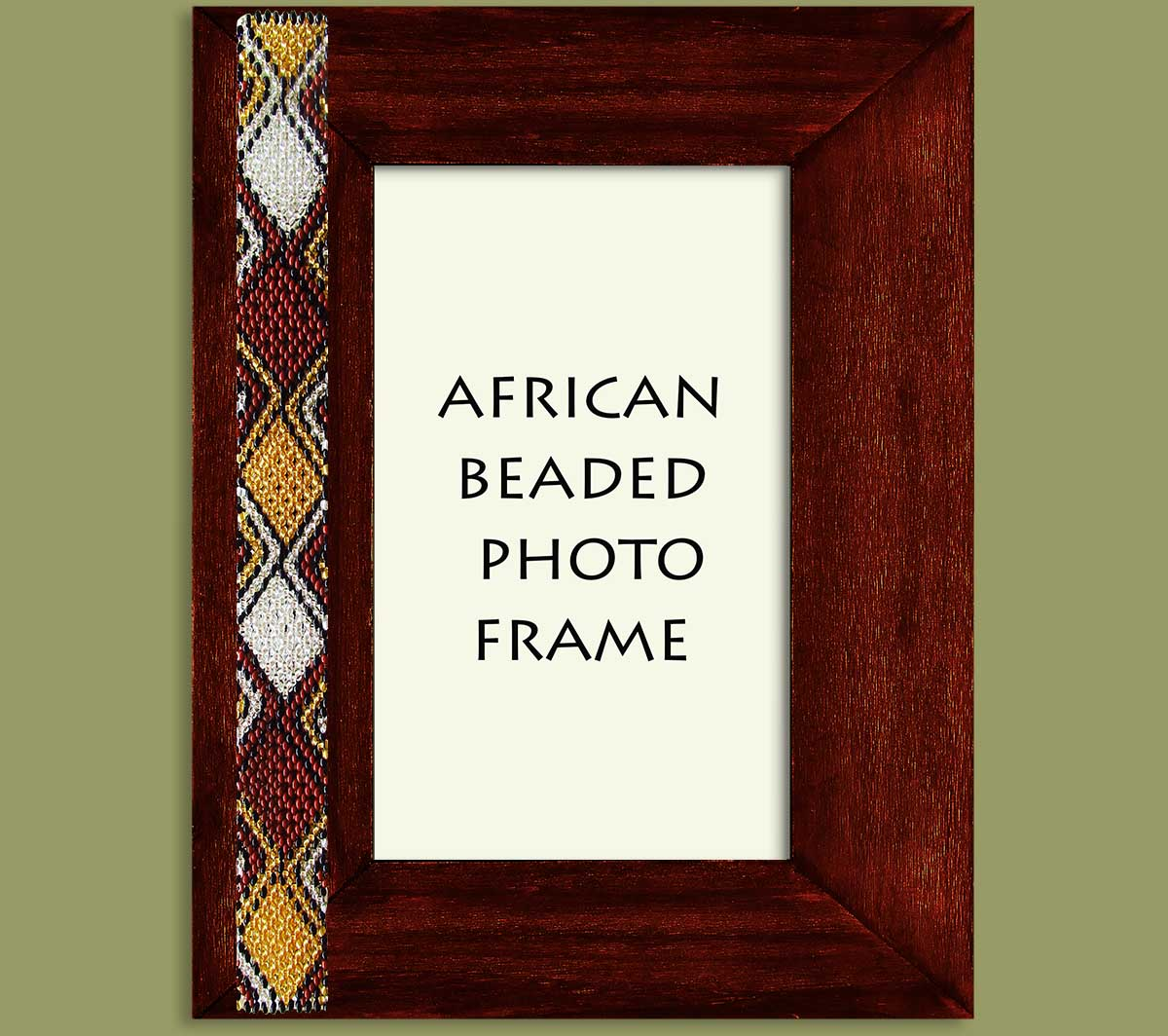 Beaded Photo Frame Gold Brown Black Silver x 1