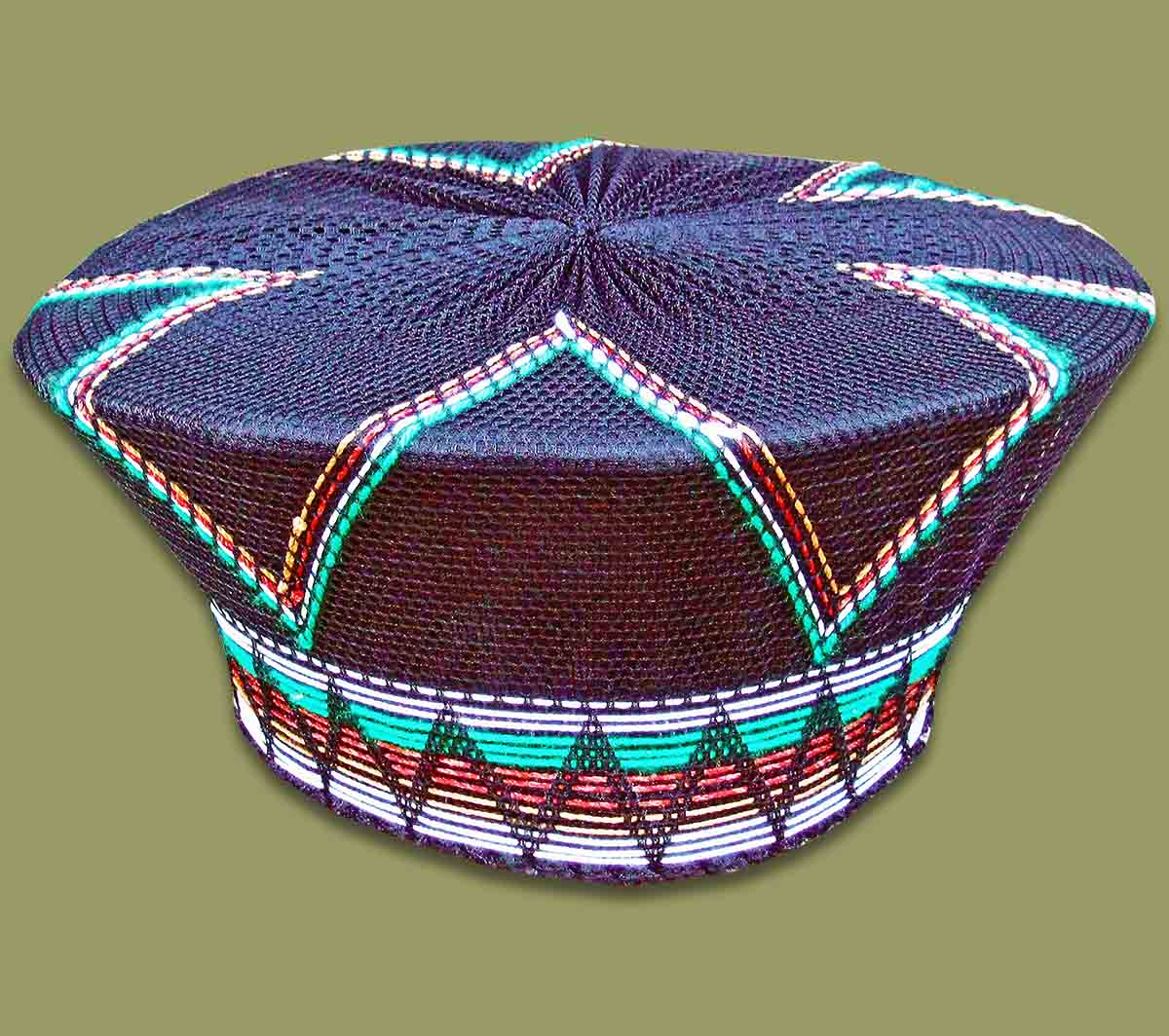 Zulu Hat Traditional Black Green Brown