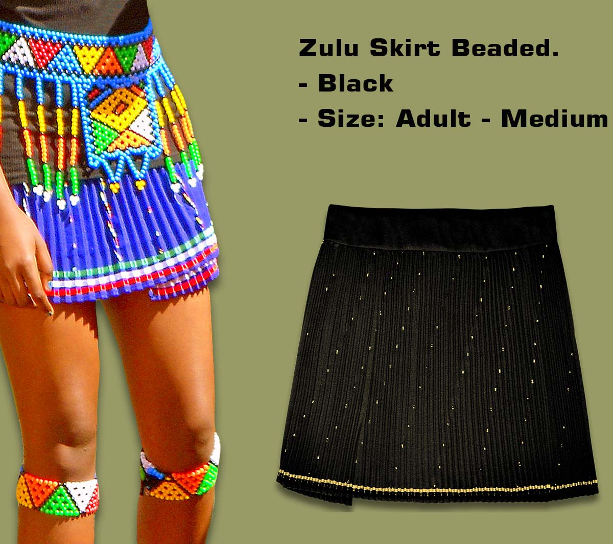 Beaded Zulu Skirt Black Adult Medium