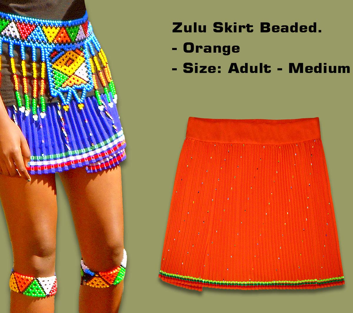 Beaded Zulu Skirt Orange Adult Medium